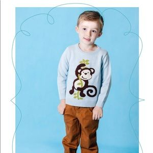 Light blue monkey Crewneck sweater